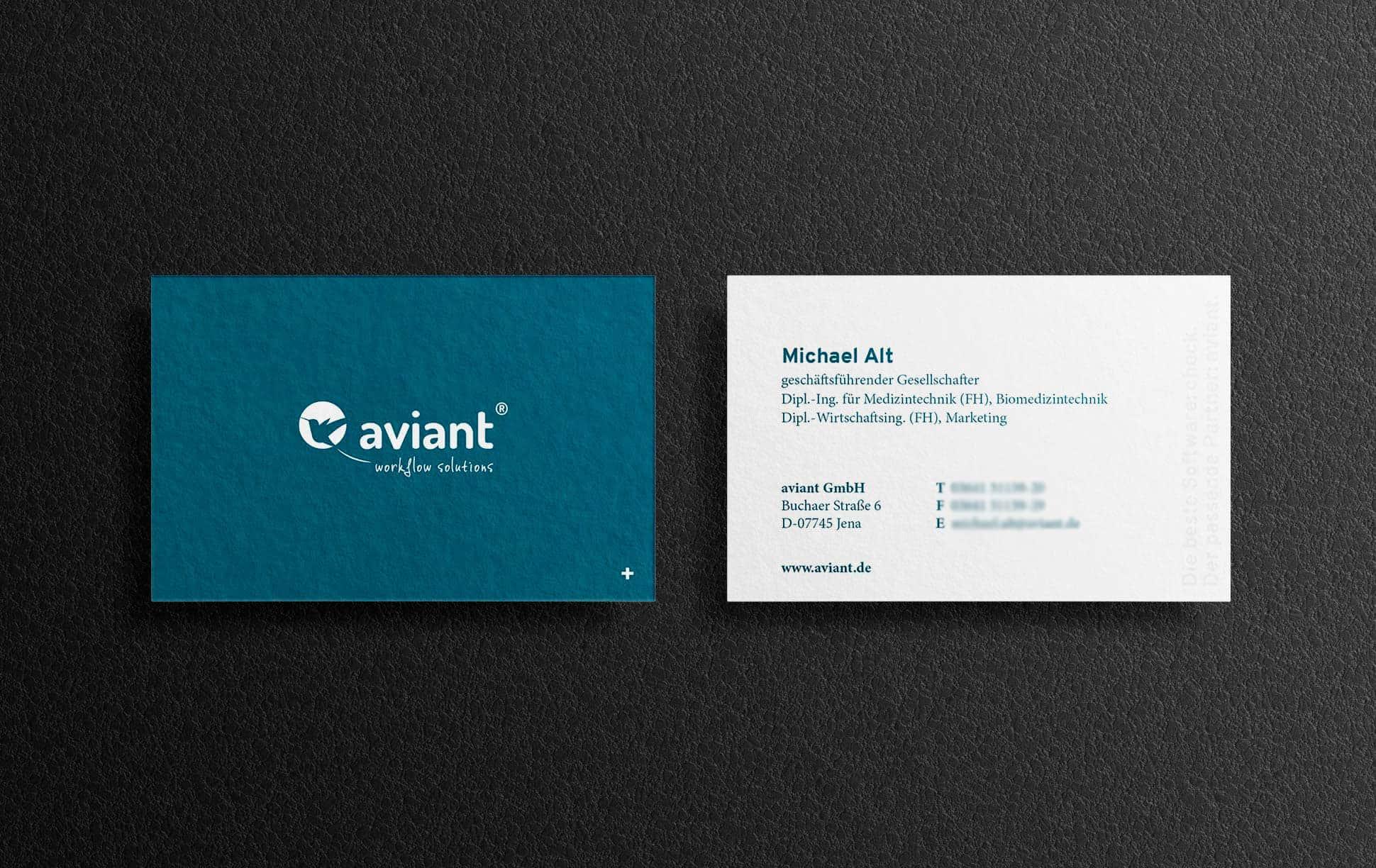 Visitenkarten-Design für die aviant GmbH
